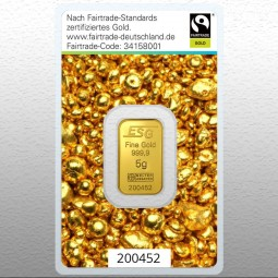 Goldbarren 5 Gramm Fairtrade