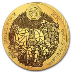Jahr des Schweins Ruanda Lunar 1 Unze Gold 2019