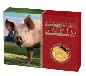 Jahr des Schweins Lunar II 1 Unze Gold 2019 Polierte Platte