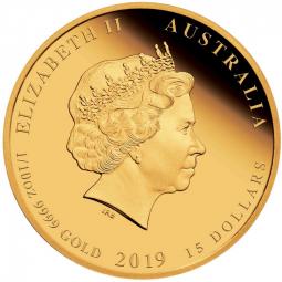 Jahr des Schweins 3-Coin-Set Lunar II. Gold 2019 Polierte Platte