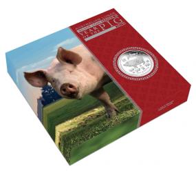 1 Kilo Jahr des Schweins Lunar II 1 Kilo Silber 2019 Polierte Platte