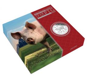 1 Unze Jahr des Schweins Lunar II 1 Kilo Silber 2019 Polierte Platte