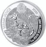 Jahr der Ratte Ruanda Lunar 1 Unze Polierte Platte