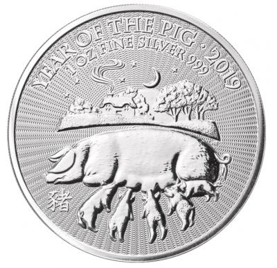 Jahr des Schweins UK Lunar 1 Unze 2019