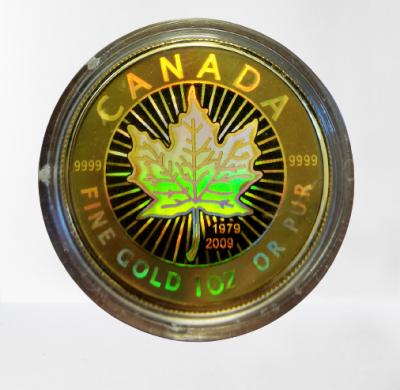 Maple Leaf 1 Unze 30 Jahre Jubiläumsausgabe 1979 - 2009 mit Hologramm