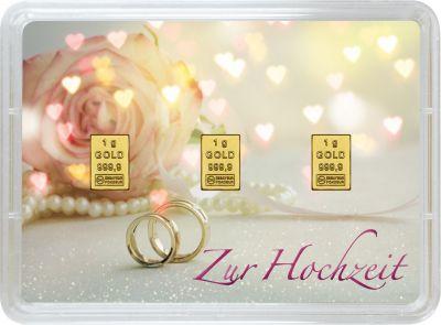 3 Gramm Geschenkbarren Hochzeit