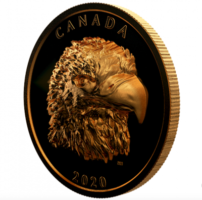 250 CAD Proud Bald Eagle - Weißkopfseeadler Extrem High Relief Kanada 2 oz Gold