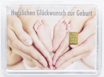 """1 Gramm Geschenkbarren """"Geburt"""""""