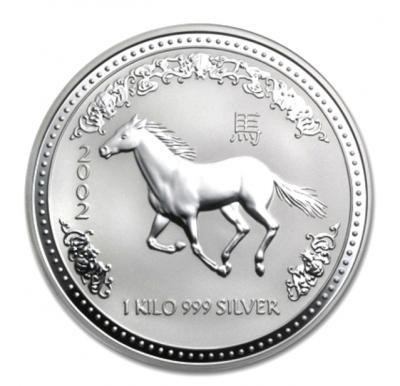 Jahr des Pferdes 1 kg Silber 2002 Lunar I.