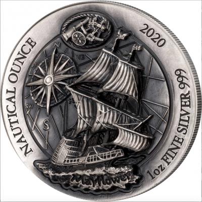 Nautical Ounce Mayflower 2020 1 Unze High Relief