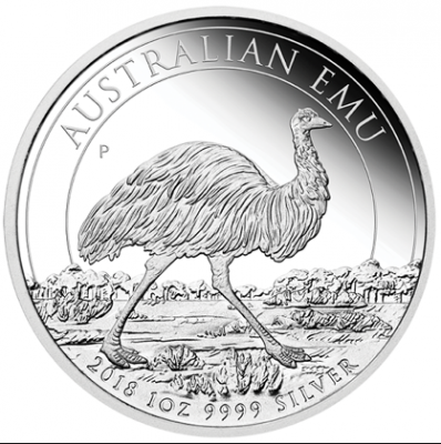 Australian Emu 2018 Silber Polierte Platte