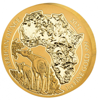 African Ounce Okapi Ruanda 1 Unze Gold 2021