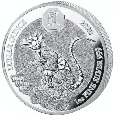 Jahr der Ratte Ruanda Lunar 1 Unze Polierte Platte 2020