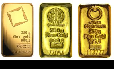 Goldbarren 250 Gramm Feingold diverse